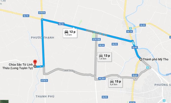 Bản đồ đường đi chùa Sắc Tứ Linh Thứu