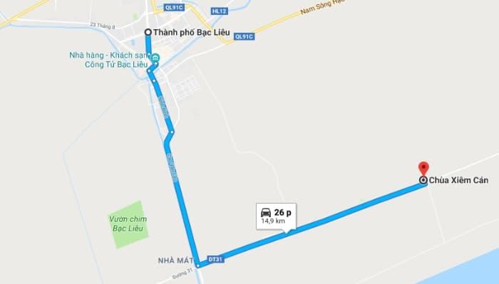 Bản đồ vị trí chùa Xiêm Cán (Bạc Liêu)