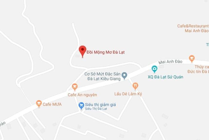 Bản đồ vị trí của Đồi Mộng Mơ ở Đà Lạt