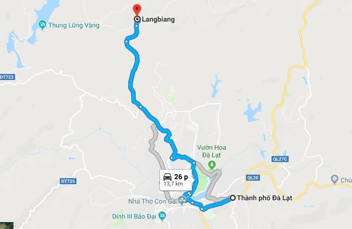 Bản đồ vị trí Langbiang (Đà Lạt)