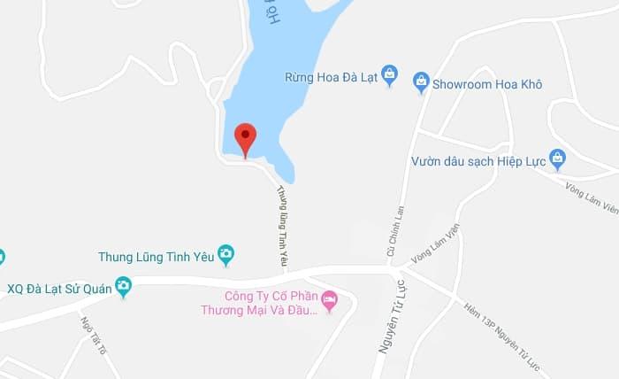 Bản đồ vị trí Thung lũng tình yêu ở Đà Lạt