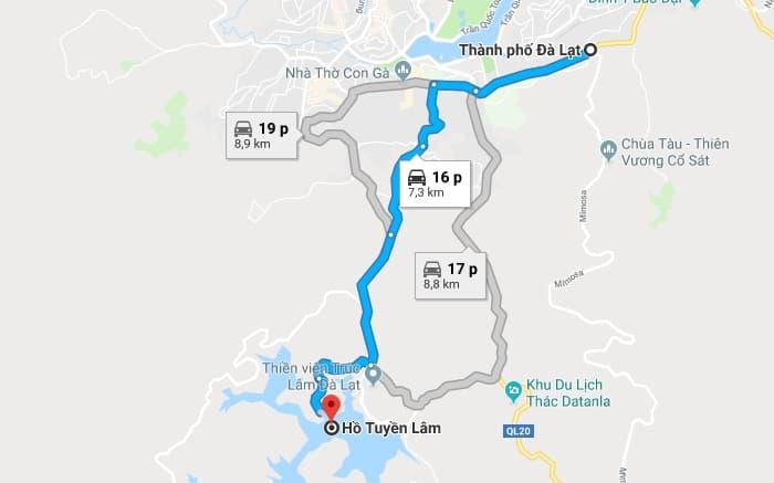 Bản đồ vị trí Hồ Tuyền Lâm (Đà Lạt)