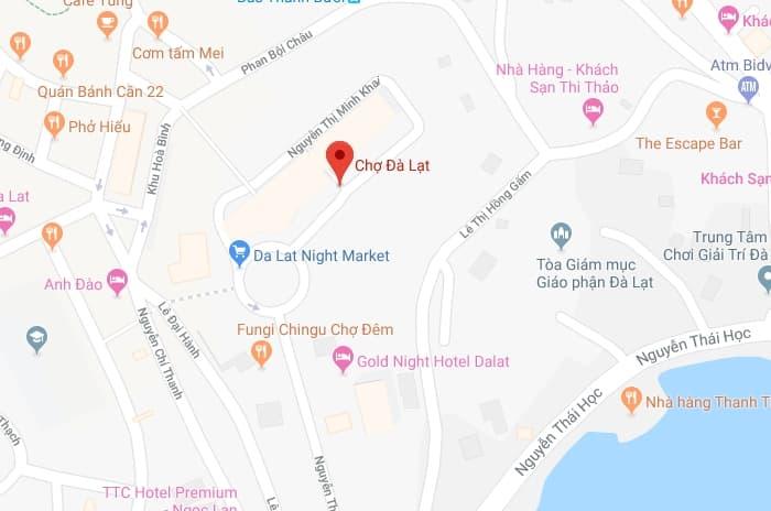 Bản đồ vị trí Chợ Đà Lạt