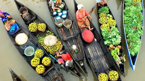 Kết quả hình ảnh cho bán hoa quả trên chợ nổi